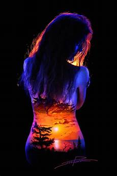 Cheap Black Light Paint This Landscape Body Art Lit Up By Black Light Is Insanely