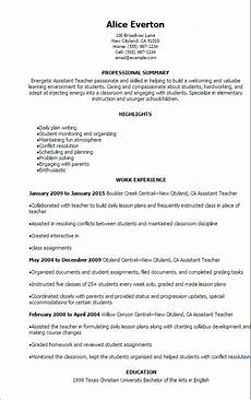 Resume For Teacher Assistant 1 Assistant Teacher Resume Templates Try Them Now