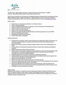 Receptionist Duties Resume 12 Medical Receptionist Jobs Resume Fresh Format