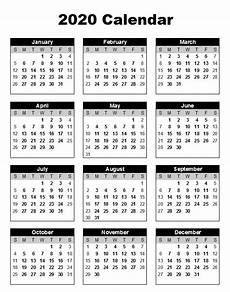 12 Months Calendar 2020 Printable Free 12 Month 2020 Calendar Printable One Page Yearly
