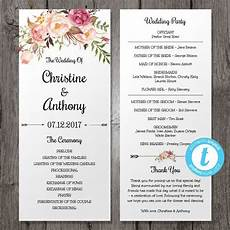 Wedding Programme Template Floral Bohemian Wedding Program Template Instant By