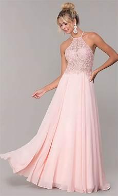 chiffon high neck blush pink prom dress promgirl