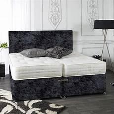 zip and link crushed velvet divan bed set ortho