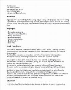 Medical Billing Job Description For Resume Professional Billing Specialist Templates To Showcase Your