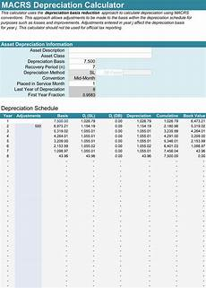 Macrs Excel 5 Depreciation Calculator Templates For Excel 174