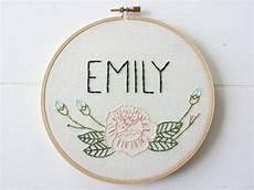custom name embroidery hoop floral