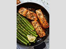 Garlic Butter Salmon with Lemon Asparagus Skillet Recipe