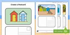 post card template twinkl create a postcard hut themed writing template