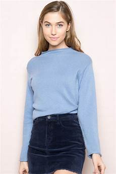 Melville Light Blue Sweater Melville Bennett Turtleneck Sweater Fashion