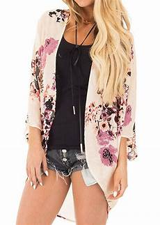 floral batwing sleeve cardigan without necklace bellelily
