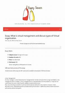 Essay Organization Types What Is Virtual Management And Discuss Types Of Virtual