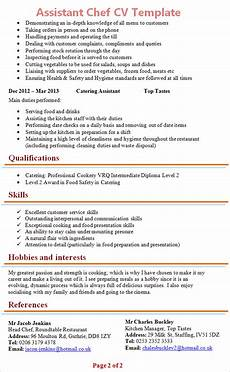 Hobbies And Interests On A Resume Assistant Chef Cv Template 2