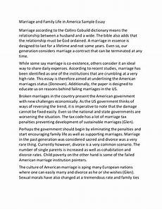 Argument Essay On Marriage Marriage And Family Life In America Sample Essay