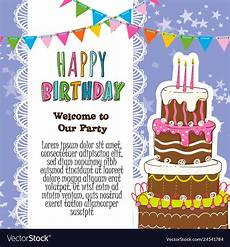 Birthday Invitation Card Size Happy Birthday Invitation Card Royalty Free Vector Image