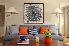 blue orange living room transitional with graphic art
