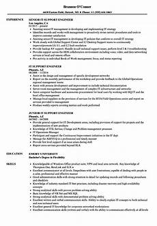 Resume Of Desktop Support Engineer It Support Engineer Resume Samples Velvet Jobs