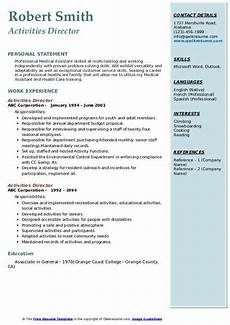 Interest And Activities For Resume Activities Director Resume Samples Qwikresume