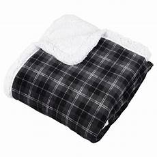 tartan check warm fleece blanket soft sherpa luxury warm