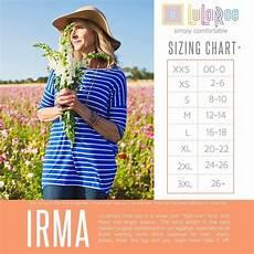 Sizing Chart For Lularoe Irma Irma Size Chart Lularoe Sizing Lularoe Size Chart Irma
