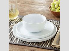 Modern Rim 12 Piece Dinnerware Set White Round 4 Dinner