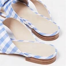 Light Blue Satin Flats Light Blue And White Plaid Satin Flats Women S Slide