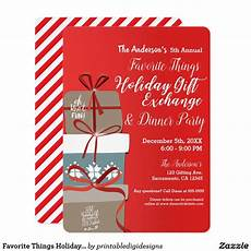 Christmas Gift Exchange Invitations Favorite Things Holiday Gift Exchange Party Invitation