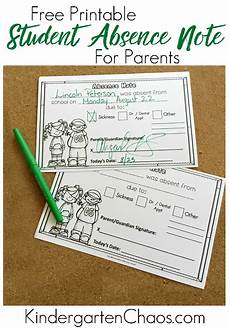School Absence Note Template Free Free Printable Absence Note For Students Amp Parents