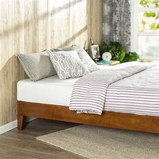 size low profile wooden platform bed frame in cherry