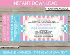 Ticket Invite Template Free Carnival Ticket Invitations Template Carnival Circus