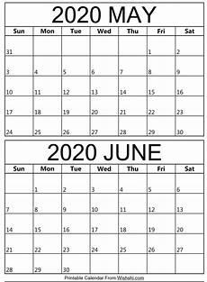 June 2020 Calendar Printable May June 2020 Calendar Free Printable