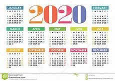 Basic Calendar 2020 Calendar 2020 Vector Pocket Basic Grid Simple Design