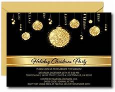 Black And White Christmas Invitations Gold Bulbs Christmas Party Invitations Announce It