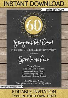 Free Printable 60th Birthday Invitations Templates Chalkboard 60th Birthday Invitations Template Editable