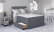 grey divan bed set with memory foam mattress and headboard