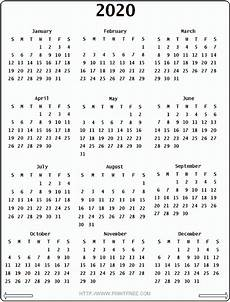 One Year Calendar 2020 2020 Calendar With Images Printable Yearly Calendar