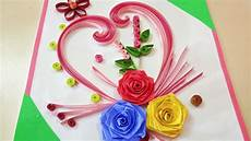 Flower Design For Cards Paper Quilling How To Make Beautiful Rose Flower Design