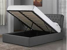 grey fabric chesterfield style ottoman storage bed frame