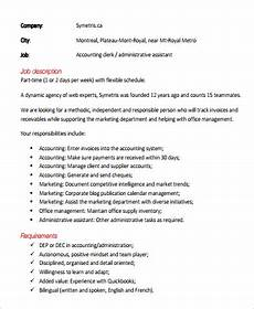Job Description For Accounting Clerk Free 9 Sample Accounting Assistant Job Descriptions In