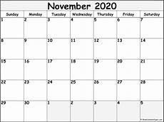 Calendar Month November 2020 November 2020 Blank Calendar Templates