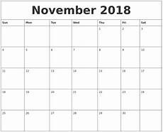 November Template November 2018 Blank Monthly Calendar Template