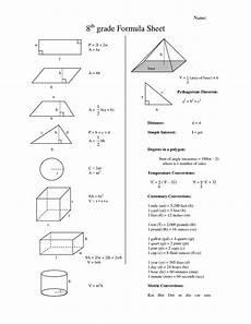 7th Grade Formula Chart Eighth Grade Math Formula Chart 8th Grade Formula Sheet