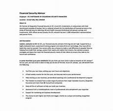 Financial Advisor Description 7 Financial Advisor Job Description Templates Free