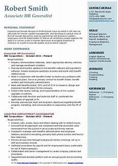 Experienced Hr Analyst Resume Hr Generalist Resume Samples Qwikresume