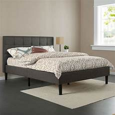 king size grey upholstered platform bed frame with