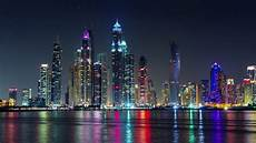Dubai Night Lights Dubai Marina Night Light Illumination Palm Bay Panorama 4k