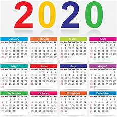 Year Calender Colorful 2020 New Year Calendar Colorful Colorful