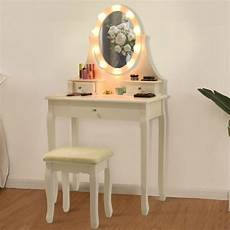 3 drawers lighted mirror vanity makeup dressing table