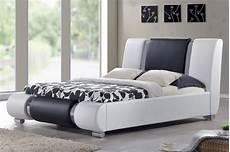 modern italian designer bed frame white black faux