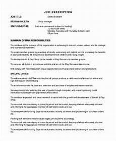 Job Description For A Shop Assistant 20 Sales Assistant Job Description Resume With Images
