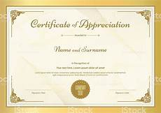Certificates Templates Certificate Of Appreciation Template With Vintage Gold